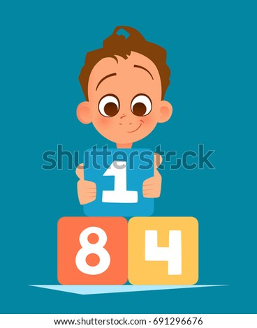 Color vector illustration of happy smile boy kid playing with toy cubes