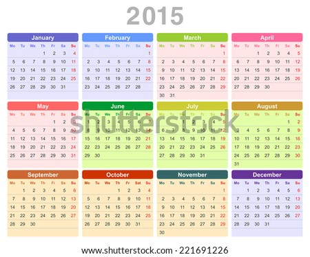 Color vector illustration of 2015 year annual calendar (Monday first, English) - stock vector