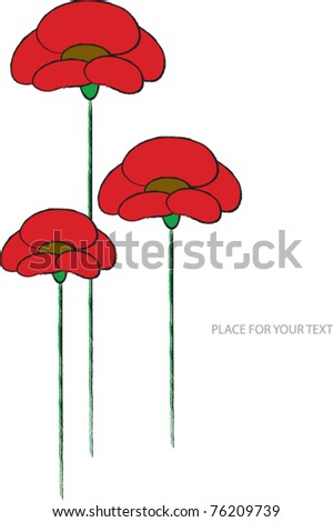 color vector illustration with red popps in bloom and place for your text - stock vector