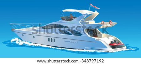 Color vector illustration Yacht against the sky and sea - stock vector