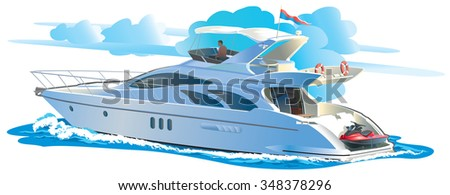 Color vector illustration Yacht against the sky with clouds - stock vector