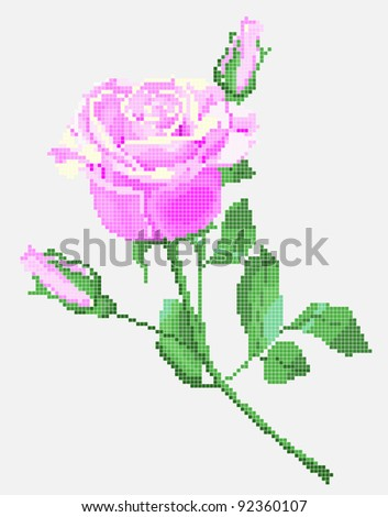 Color vector image of flower (pink rose) using traditional Ukrainian embroidery elements. Can be used to pixel art - stock vector