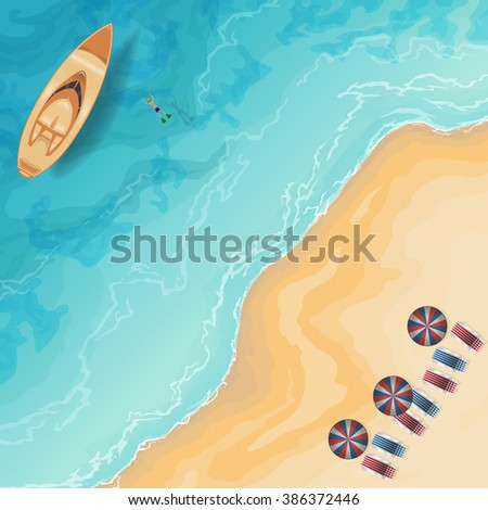 color vector image of motor boats and beach top view - stock vector
