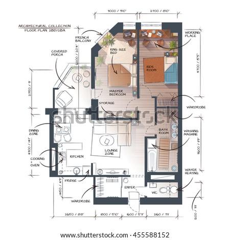 Color Vector Interior Design Concept. Floor Plan. Hand Drawn Style - stock vector