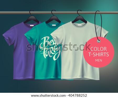 Color vector men's t-shurts design template. - stock vector