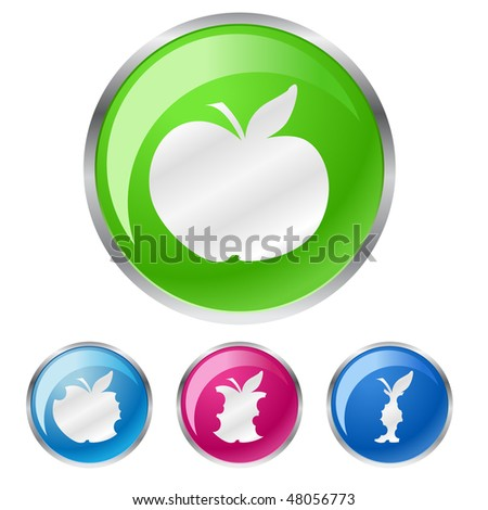 color vector of buttons with apple - stock vector