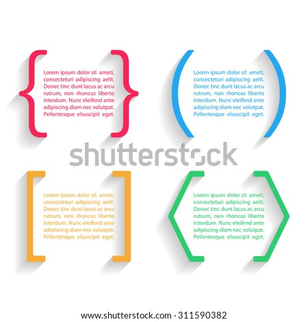 Color vector quotes and brackets with shadow. Vector illustration.