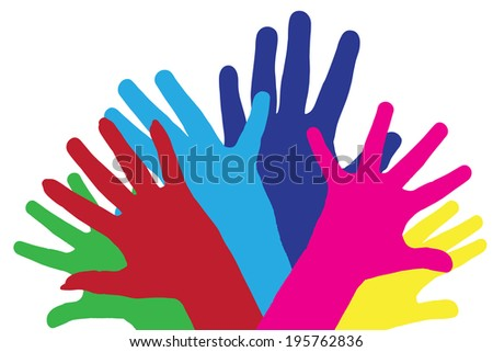 Color vector silhouettes of different hands on white background.