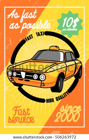 Color vintage taxi poster