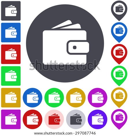 Color wallet icon, button, symbol set. Square, circle and pin versions. - stock vector