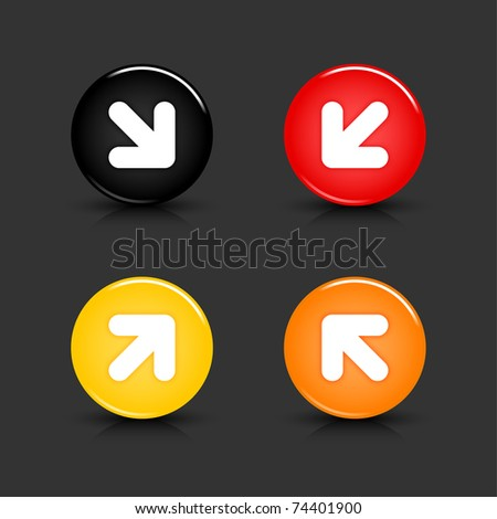 Color web 2.0 button with white arrow symbol. Round shapes with reflection and shadow on gray background. 10 eps - stock vector