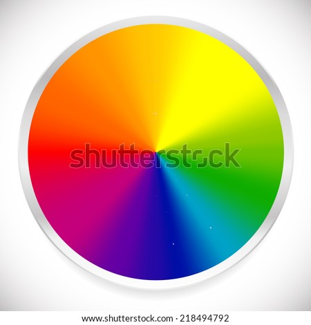 Color wheel, circular color palette with vibrant, vivid colors - stock vector