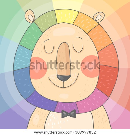 Color Wheel - cute vector Lion with rainbow mane on colorful background - stock vector