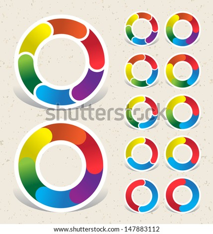 COLOR WHEEL GRAPHIC. Group of individual elements.