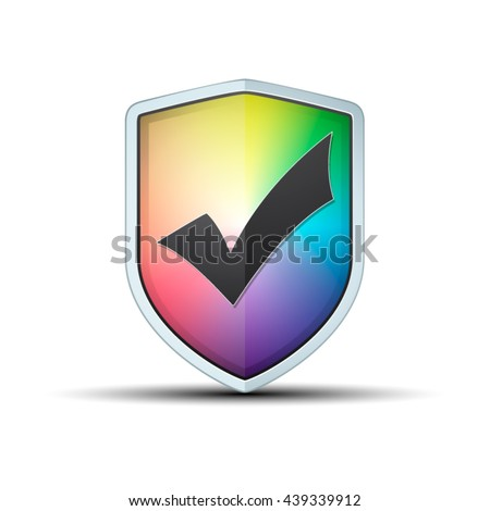Color  Wheel Shield Checkmark - stock vector