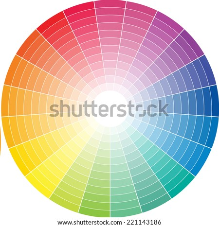 Color wheel with the transition to white in the middle - stock vector