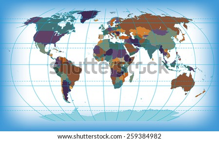 color world map - stock vector