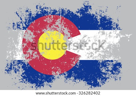 Colorado grunge,damaged,scratch,old style state flag. - stock vector