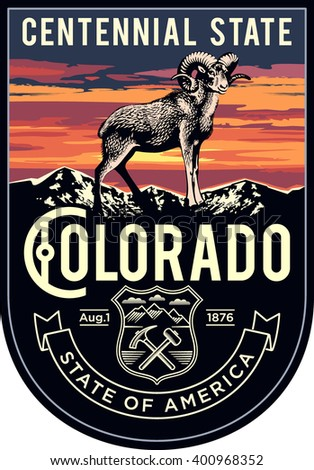 Colorado state emblem, sunset on a dark background