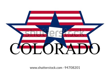 Colorado state map, flag and name. - stock vector