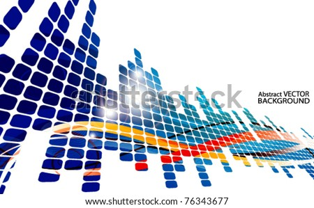 colored abstract background with squares - stock vector