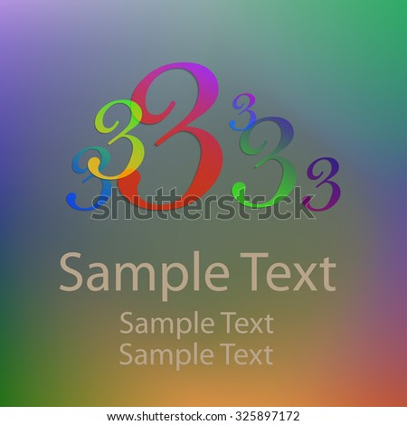 Colored abstract numbers three  - stock vector