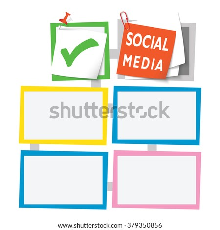Colored abstract text boxes for your text and social media headline and check box - stock vector
