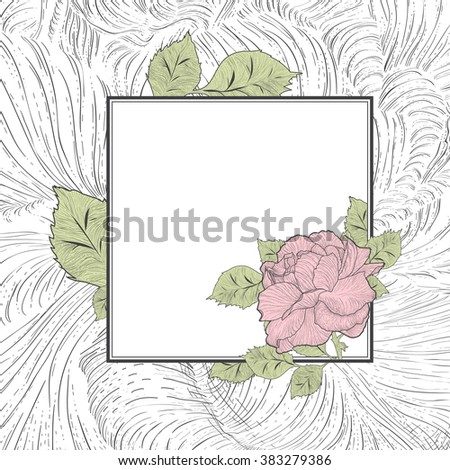 Colored Abstract Vintage Rose Flower Frame, Copyspace - stock vector