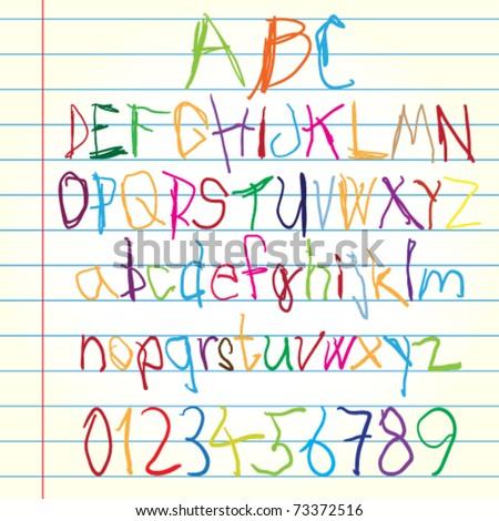Colored alphabet - vector illustration - stock vector