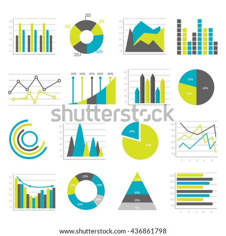 Colored Isolated Graphs Flat Icons Set Stock Vector 436861798 ...