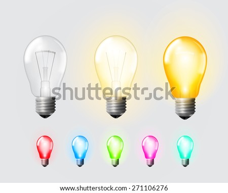 Colored and regular glowing, turned off electric light bulb, vector illustration set - stock vector