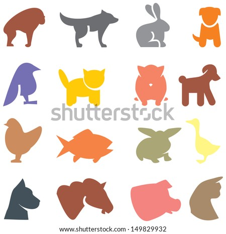 Colored animals icons - stock vector
