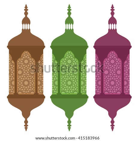 Colored arabic or islamic ramadan lamps with solid flat color. Ramadan lanterns with creative ornament windows.