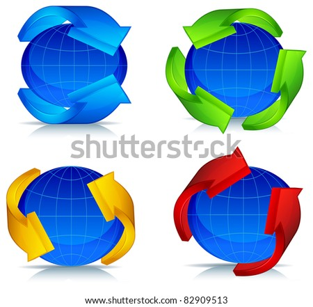 Colored arrows around blue planet, vector illustration
