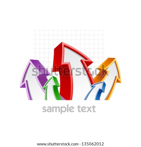 Colored arrows, growth concept business design template. - stock vector