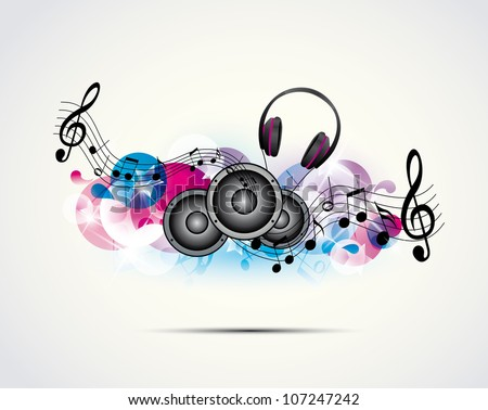 colored background music with headphones and speakers - stock vector