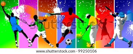Colored background with the image of athletes engaged in different sports; - stock vector