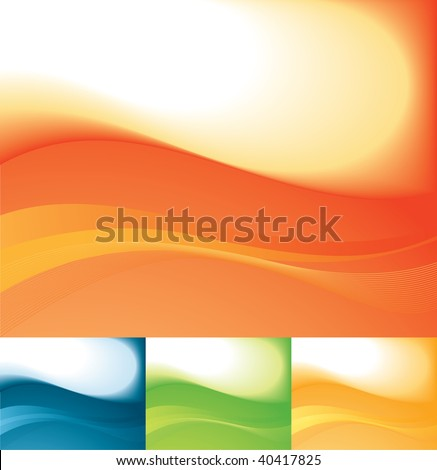 Colored backgrounds: orange, blue, green and yellow