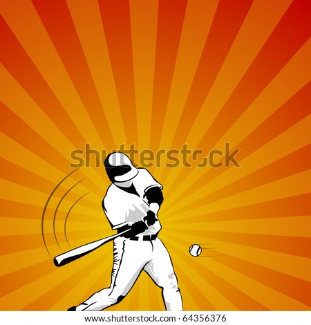 colored baseball player striking the ball vector illustration - stock vector