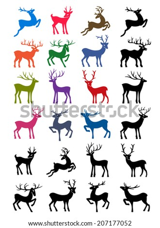 Colored & black outlined deer isolated on white background. EPS 8 stock vector. - stock vector