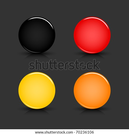 Colored blank round glossy web button with shadow and reflection on gray background - stock vector