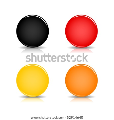 Colored blank round glossy web button with shadow and reflection on white - stock vector