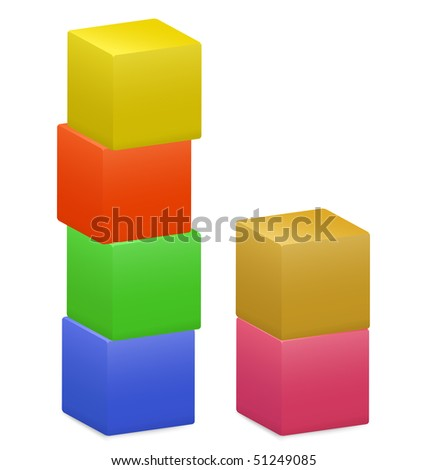 Colored blocks and bricks for games on a white background