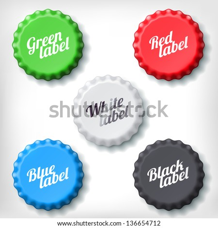 Colored bottle cap on white background. Green, red, white, blue and black bottle cup. - stock vector