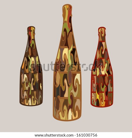 colored bottles - stock vector