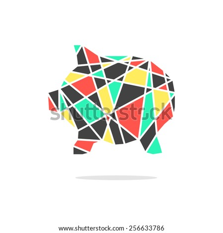 colored broken piggy bank with shadow. concept of poverty, deposit policy, nest egg, money for a rainy day, thrift. isolated on white background. triangle style modern logo design vector illustration - stock vector