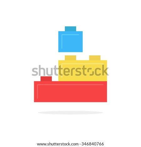 colored building block toy with shadow. concept of edifice, industry, engineering, brainstorming, development. isolated on white background. flat style trend modern logotype design vector illustration - stock vector