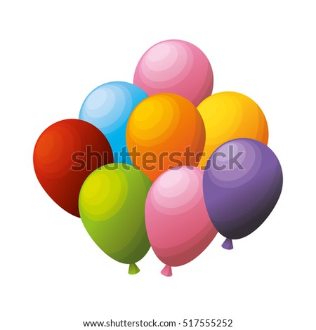 colored bunch balloons party