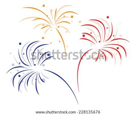 colored bursting fireworks on white background - stock vector