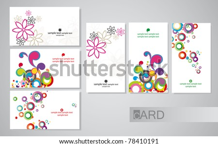 colored business cards on a white background, set horizontal and vertical - stock vector